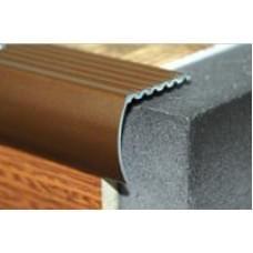 Уголок алюминиевый - накладка на ступеньку ПУ-04 ЛУКА - анод серебро