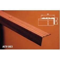 Уголок алюминиевый - накладка на ступеньку АПУ 003 - неокрашенный